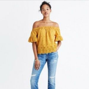 Madewell Mustard Yellow Off Shoulder Eyelet Top